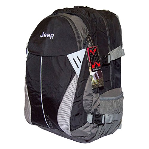 Jeep Ascent Full airflow back Laptop travel Hiking shower proof Backpack (Black 30 Liters)