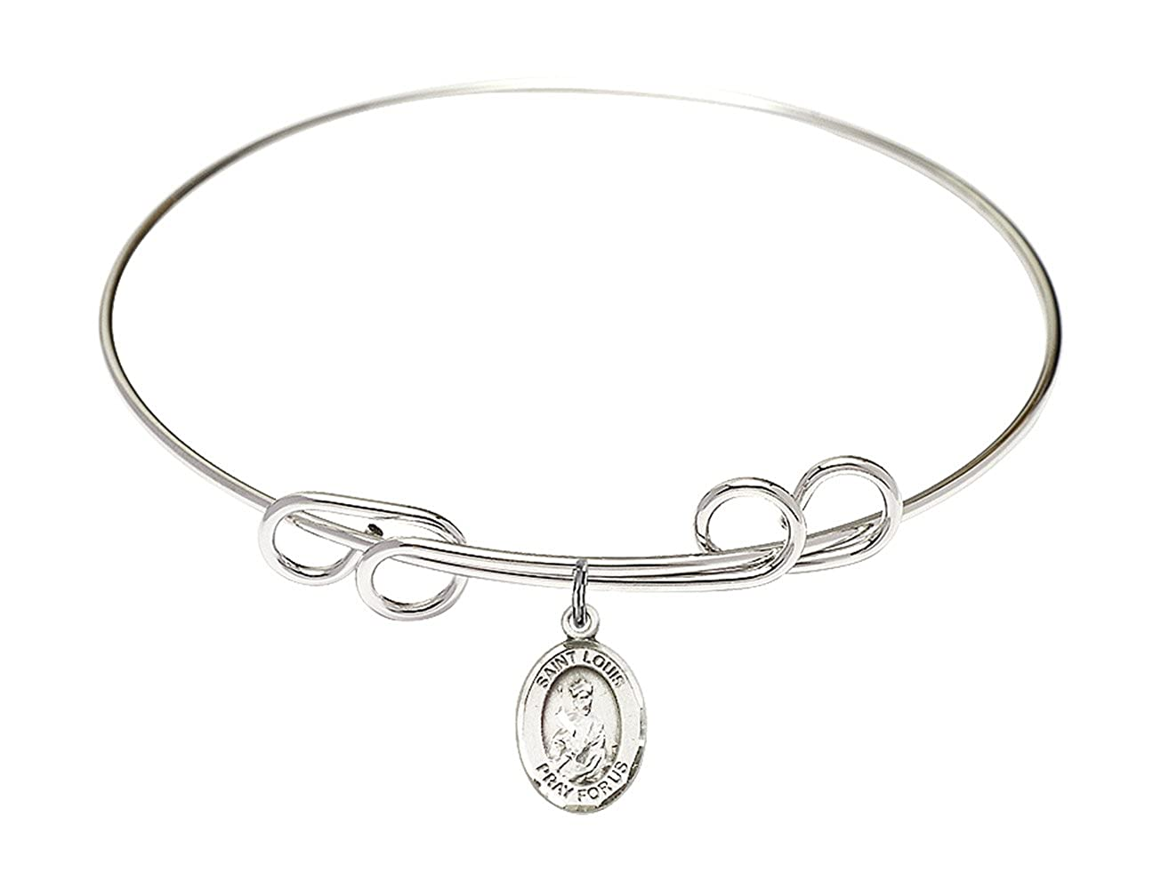 DiamondJewelryNY Double Loop Bangle Bracelet with a St Louis Charm.
