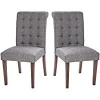 Merax Fabric Dining Chairs Set of 2 Padded Side Chair with Solid Wood Legs (Grey_1)