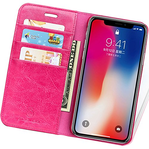 iPhone X Cell Phone Leather Wallet Case with Cards and Cash Slots(Rose)