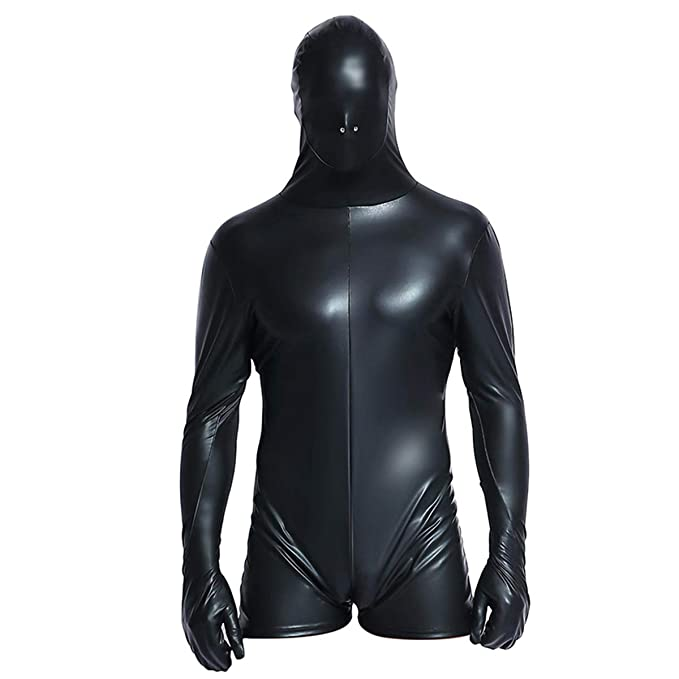 c69d288e37 Xinbeauty Men s Sexy PVC Underwear Sensory Deprivation Mask Blindfold  Breathable Jumpsuit Bondage Hood Gloves Cosplay Leather