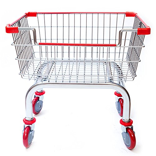 CART&SUPPLY Coin Laundry Cart, Laundry Cart[Chrome] Without Pole Rack (RED)