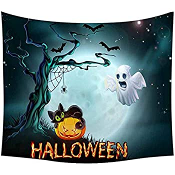 LBKT Tapestries Wall Hanging for Halloween Party Witch Flying Halloween Pumpkins Theme Bats Spiders Print Tapestry Wall Art for Home Decor Decoration Orange 60x40