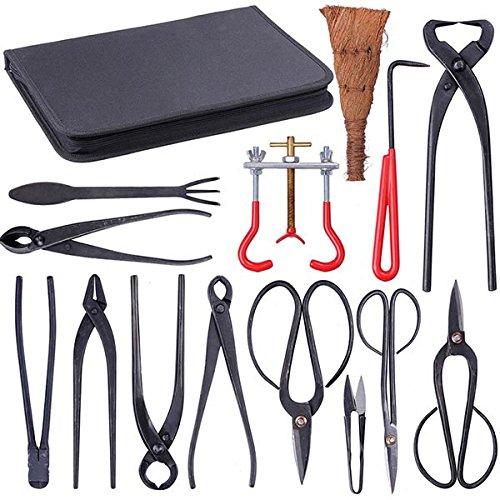 Koval Inc. 14 Pcs Bonsai Tool Kit Garden Tool Set with Bag (14)