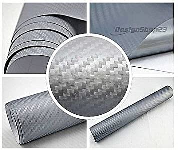 3D Carbon Folie silber blasenfrei 100 x 152 cm selbstklebend BLASENFREI Car Wrapping Klebefolie 4/€//m/² Auto Folie