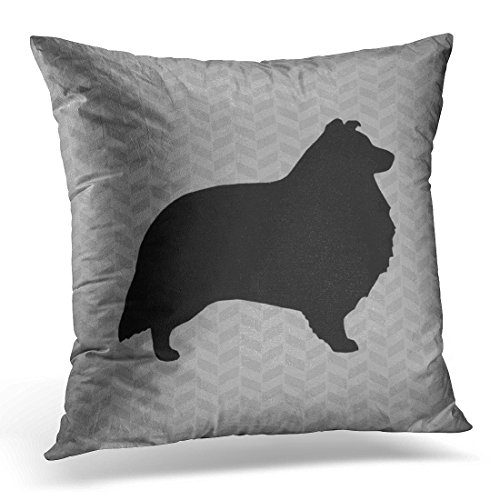 over Sheltie Shetland Sheepdog Silhouette Grey Dog Decorative Pillow Case Home Decor Square 16x16 Inches Pillowcase ()