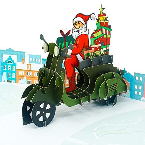 Paper Love Santa's Biker Pop Up Christmas Card, Handmade 3D Popup Greeting Cards, for Christmas, Holiday, Xmas Gift
