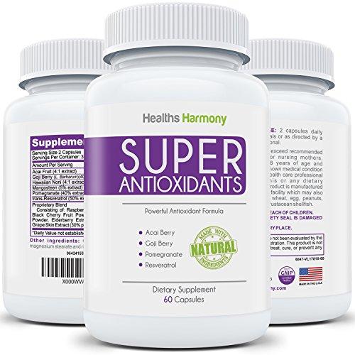 Supplément de Super antioxydants - mélange antioxydant puissant Super aliment : Acai Berry, baie de Goji, Grenade & Trans-resvératrol - base de plantes naturel & fruits formule pour soins de la peau, Made in USA : 60 Capsules