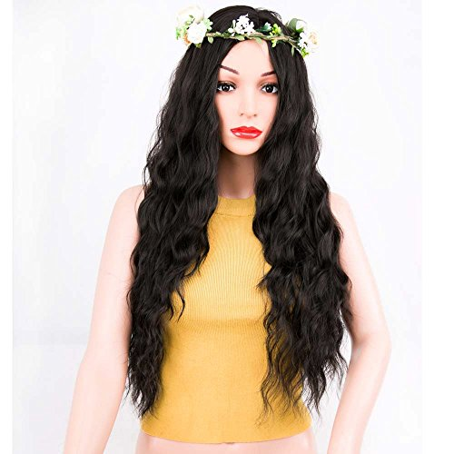 Beauty : ForQueens Black Wavy Wig Synthetic Natural Long Curly Wigs Loose Body Wave Wigs Heat Resistant Fiber Full Wigs for Women