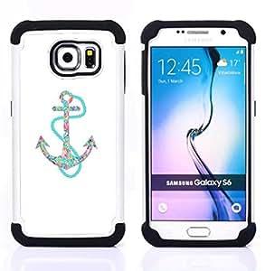 - anchor teal white minimalist boat sea/ H??brido 3in1 Deluxe Impreso duro Soft Alto Impacto caja de la armadura Defender - SHIMIN CAO - For Samsung Galaxy S6 G9200
