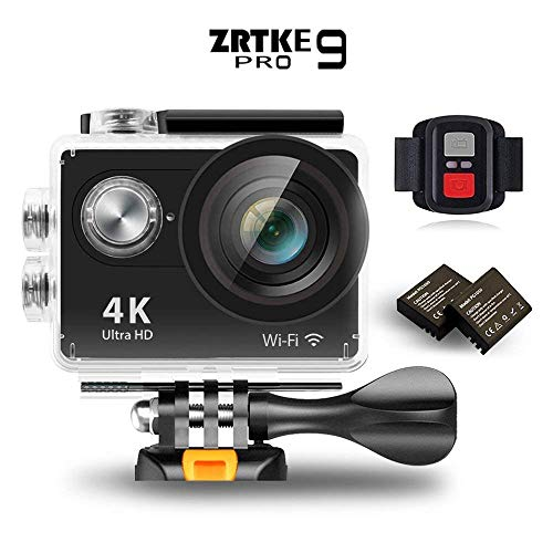 Sports Action Camera, ZRTKE 4K Ultra HD WiFi Waterproof Camcorder 12MP 170 Wide Angle Lens Includes 2 Rechargeable Batteries and Accessory Kit (Black) For Sale