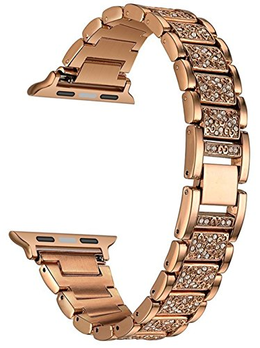 Stainless steel watch bands for Apple watch, Crystal Rhinestone White Diamond wrist band replacement with metal clasp for iWatch Series 1, Series 2, Series 3 (42mm man/womem-Rose Gold)