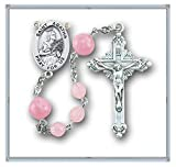 Specialty Rosaries, Saint Agatha Rosary, Sterling Silver Centerpiece and Crucifix with Rhodium Plated Brass Findings, 6mm Pink Round Swarvoski Crystal Beads with 8mm Pink Venetian Rosebud Glass Beads and a Sterling Silver St. Agatha Center with a 1-3/4'' S