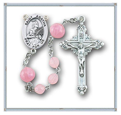 Specialty Rosaries, Saint Agatha Rosary, Sterling Silver Centerpiece and Crucifix with Rhodium Plated Brass Findings, 6mm Pink Round Swarvoski Crystal Beads with 8mm Pink Venetian Rosebud Glass Beads and a Sterling Silver St. Agatha Center with a 1-3/4'' S by HMH001