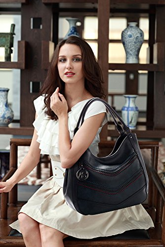 bags XL Compartment Leather Handbag Extra 2 Women Faux 3 Black Large Tote Ladies Designer Design Shoulder nqpRF0Wn