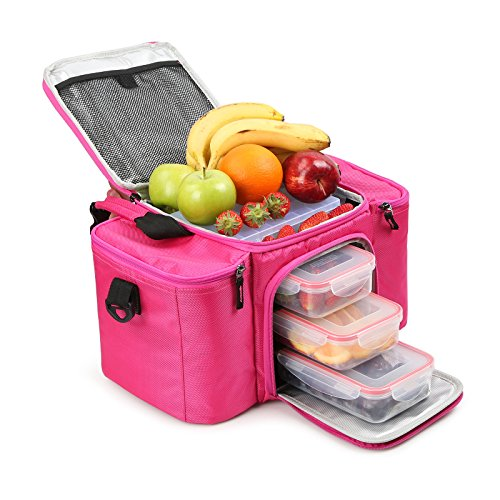 RitFit Cooler&Warm Meal Insulated Lunch Bag with Snap Lid Containers and Ice Pack (Rose - Bag Lid Lunch Velcro