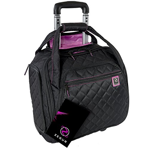ZEGUR Quilted Rolling Underseat Carry-On Luggage - Wheeled Travel Tote Bag (Black) ()