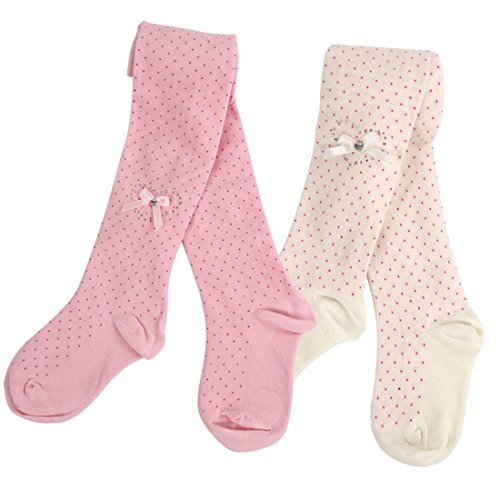 ddler Baby Girl's Quality Cotton Knit-in Fun White Pink Bowknot Polka Dots Cotton Pants Tights Leggings Pantyhose (Cotton Polka Dots Tights)