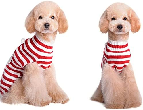 NACOCO Santa Claus Sweater Pet Sweater Xmas Dog Holiday Sweaters Christmas Sweaters Cold Weather Coat for Small to Medium Sized Dogs and Cats