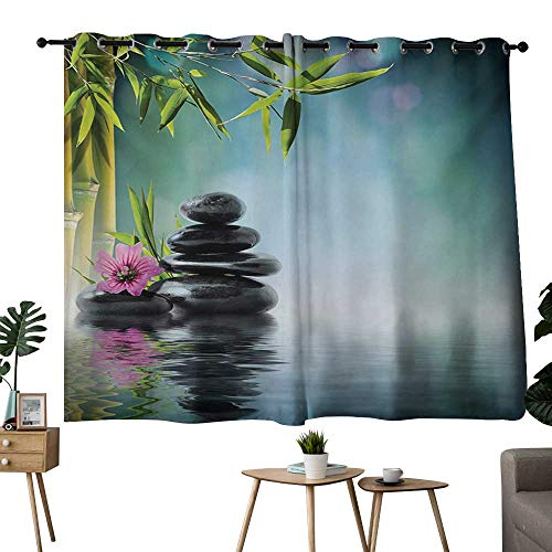 (NUOMANAN Blackout Curtains 2 Panels Zen Garden,Pink Flower Spa Stones and Bamboo Tree on The Water Relaxation Theraphy Peace,Multicolor,Blackout Draperies for Bedroom Living Room 42