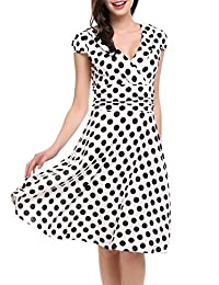 Meanor Women's V-Neck Cap Sleeve Clas Polka Dot Vintage A-Line Party Dress