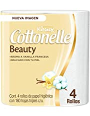 Kleenex Cottonelle Beauty Papel Higiénico, Paquete con 4 Rollos de 180 Hojas Triples