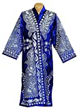 STUNNING UZBEK SILVER SILK EMBROIDERED ROBE CHAPAN FROM BUKHARA A7873