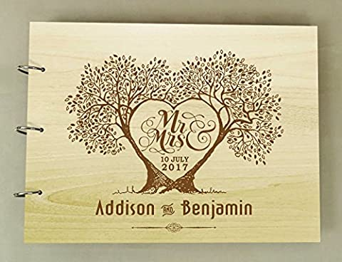 Personalized Wood Engraved Bride And Groom Tree Guest Book Rustic Wedding Photo Album Scrapbook - Wood Photo Album Book