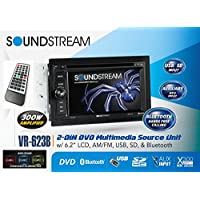 Soundstream VR-623B 6.2 Touchscreen High Resolution TFT LCD Car CD DVD MP3 Receiver w Built-in Bluetooth V3.0 Hands Free Calls Audio Streaming USB AUX SD Card Inputs LED RGB Colors AM/FM Radio Stereo