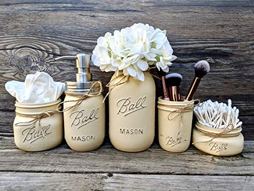 Mason Jar Bathroom Accessories. 5 Piece Mason Jar Bathroom Set With Stainless Steel Soap Dispenser. Painted Mason Jar Decor. Cotton Swab Holder. Makeup Brush Holder.