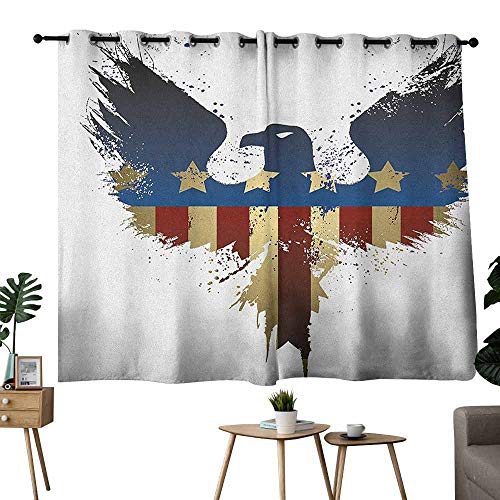 Mannwarehouse Eagle Novel Curtains The American Flag on Silhouette of National Bird of The Country Majestic Animal Set of Two Panels 55