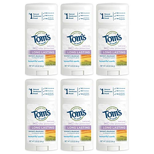 Tom's Of Maine Natural Women's Deodorant - Beautiful Earth - 2.25 Oz, Pack of 6