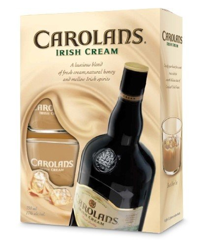 Carolans Irish Cream with 2 Etched Glasses  34 Brace, 750 ml