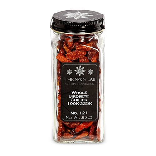 The Spice Lab No. 121 - Whole Birdseye Chile Peppers - Kosher Gluten-Free Non-GMO All Natural Pepper - French Jar