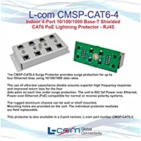 L-Com CMSP-CAT6-4 4-Port 10/100/1000 Base-T Shielded PoE Lightning Protector