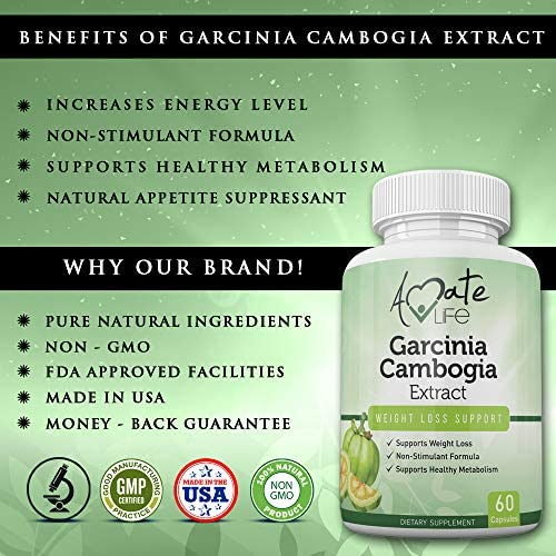 Garcinia Cambogia Extract HCA Hunger Suppressant for Women and Men -100% Satisfaction Guaranteed -Promotes Energy Levels Metabolism Booster, 60 Capsules Made in USA by Amate Life 2