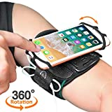 "Running Armband, Comsoon 360° Rotatable Sports Armband for iPhone X/8 Plus/8/7/6s, Galaxy S9 Plus/S9/S8/S7 & Other 4""-6.5"" Smartphone, Phone Armband with Key Holder for Hiking Biking Jogging (Black)"