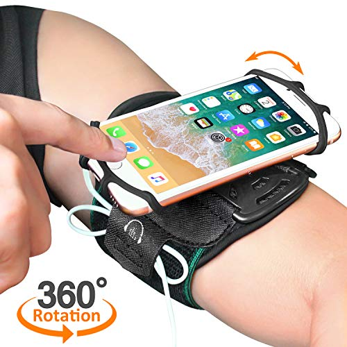 "Running Armband, Comsoon 360° Rotatable Sports Armband for iPhone X/8 Plus/8/7/6s, Galaxy S9 Plus/S9/S8/S7 & Other 4""-6.5"" Smartphone, Phone Armband with Key Holder for Hiking Biking Jogging (Black) by Comsoon"