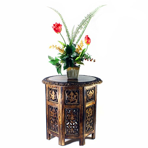 Hand Carved Wooden Side Table Indian Rosewood 18 Diameter X 18 High Distressed Brown Color