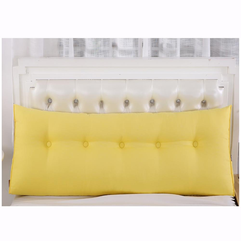FLHSLY Bedside Triangle Cushion lumbar support cushion reading pillows Big pillow sofa Backrest Soft Case Bed Protect the waist Back pad , yellow , 150cm