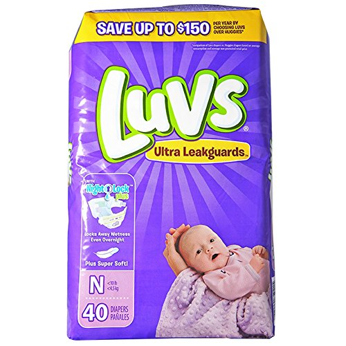 4 to 10 lbs 40//Pack 4 Pack//Carton 85921CT Luvs Diapers w//Leakguard Newborn