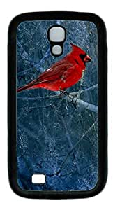 Cardinal Bird Art Painting Masterpiece Limited Design DIY TPU Black Case for Samsung Galaxy S4 I9500 by Cases & Mousepads