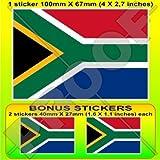 "SOUTH AFRICA South African Flag 4"" (100mm) Vinyl Bumper Sticker, Decal x1 +2 BONUS"