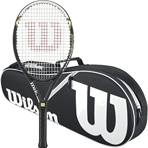 Wilson Hyper Hammer 5.3 Strung Tennis Racquet (4 3/8 Grip) Bundled with a Black/White Advantage II Triple Tennis Bag