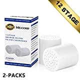 MISCORP 12-Stage Replacement Shower Water Filter Cartridge(2 Packs) for High Output Universal Shower Filter Removing Chlorine Heavy Metals and Sulfur Odor from Water