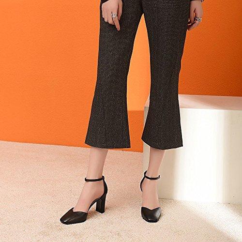 Sauvage Carrée Chaussures des Cuir épais DKFJKI Sandales La Black en Avec Mode de Robe Chaussures à Hauts Tête à pour Femmes Talons xZwwH08Aq