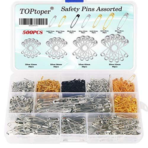 Assorted Safety Pins 500Pcs, 7 Sizes Durable Metal Safety Pins 19mm – 52mm for Home Office Use DIY Art Craft Sewing Jewelry Making with Storage Box