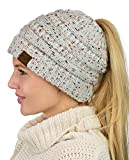 C.C BeanieTail Soft Stretch Cable Knit Messy High Bun Ponytail Beanie Hat, Confetti Ivory