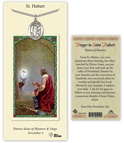 Pewter Saint Hubert of Liege Medal with Laminated Holy Prayer Card ()