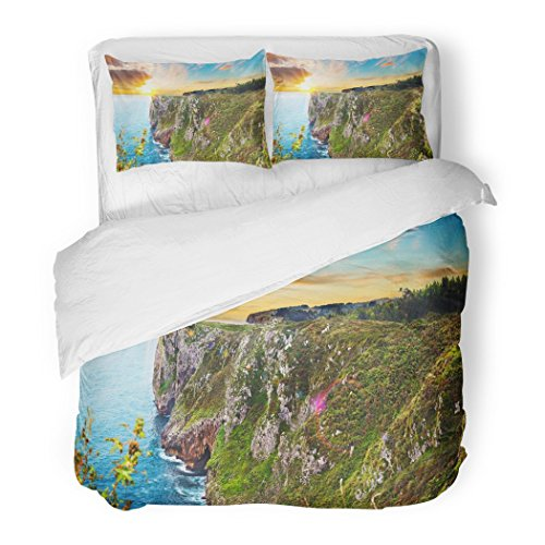 SanChic Duvet Cover Set Spectacular Mountains on the Spanish Coast Scenery Sunset Landscape Cliff and Rocks Cantabria Spain Wild Decorative Bedding Set with 2 Pillow Shams King Size by SanChic